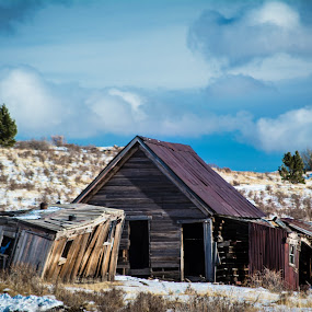 Forgotten by Derrick Leiting - Buildings & Architecture Decaying & Abandoned ( clouds, hills, wood, shack, colorado, weathered, mountains, winter, tattered, sky, blue, nikon, abandoned, building )