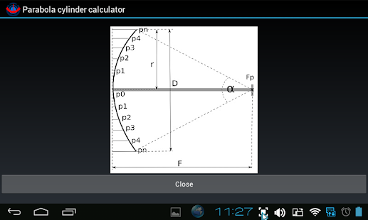 Parabola cylinder calculator - screenshot thumbnail