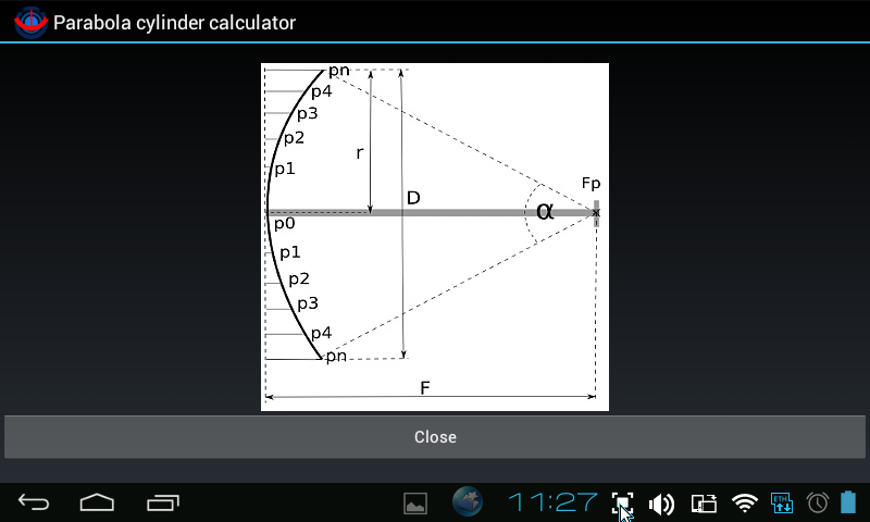 Parabola cylinder calculator - screenshot