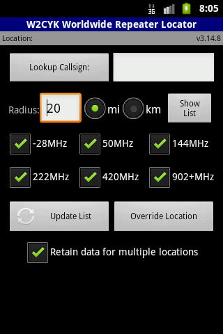 RFinder Worldwide Repeater Dir - screenshot