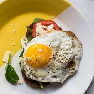 Crispy Egg Tomato Spinach Toast.