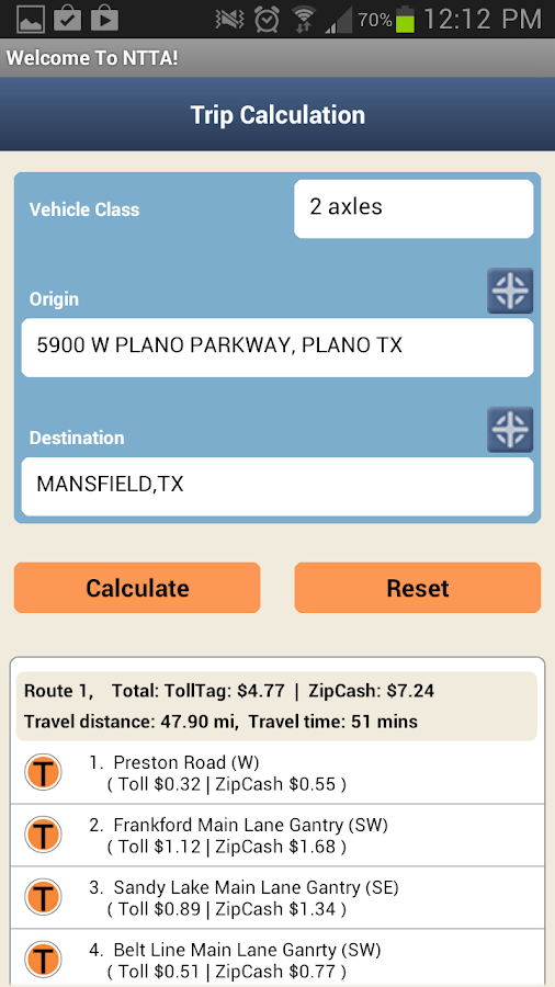 NTTA Tollmate®- screenshot