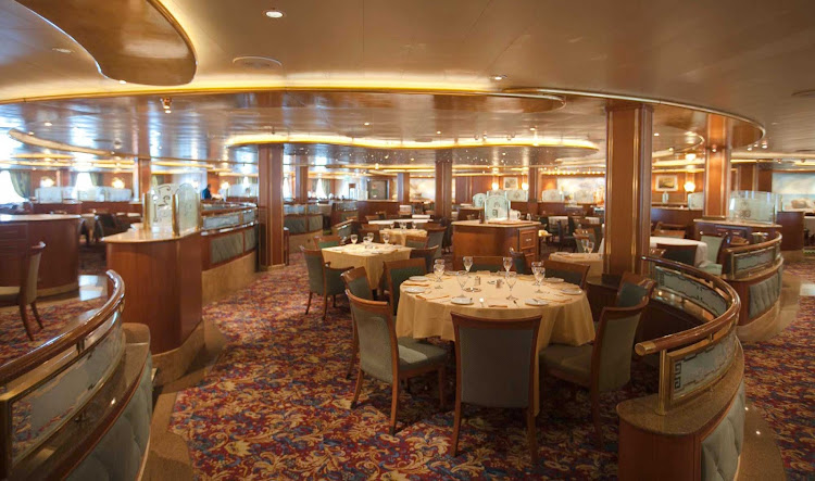 A view of the Portofino dining room aboard Star Princess. One of three main dining rooms on the ship, it's on deck 6 and open for breakfast, lunch and dinner.