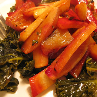 Roasted Roots and Tubers over Lemony Braised Kale.