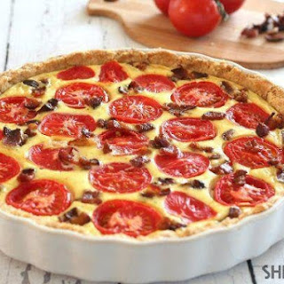 Low-carb Bacon, Goat Cheese And Tomato Tart