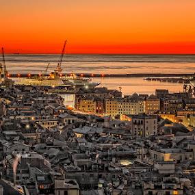 Sunset by Geanina Boureanu - Buildings & Architecture Public & Historical ( sunset, buildings, genova, city )