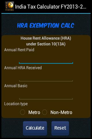 India Tax Calculator FY2015-16- screenshot