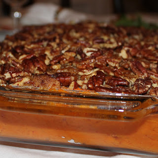 Sweet Potato Casserole with Pecan Crust.
