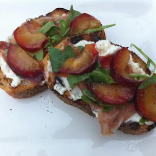 Bruschetta with Plums, Serrano Ham and Ricotta Recipe