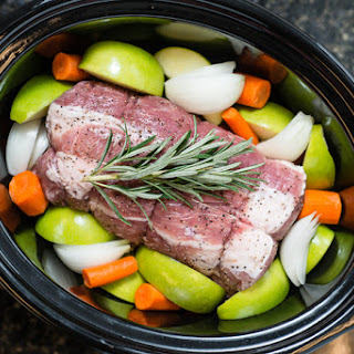 Slow Cooker Pork Roast with Apples, Carrots and Rosemary