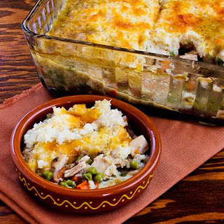 Leftover Turkey (or chicken) Shepherd's Pie Casserole with Garlic-Parmesan Cauliflower Topping.
