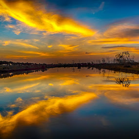 . by Dugalan Poto - Landscapes Cloud Formations ( clouds, indonesia, dugalan, cloud, pond, tegal, before sunrise, , golden hour, sunset, sunrise )