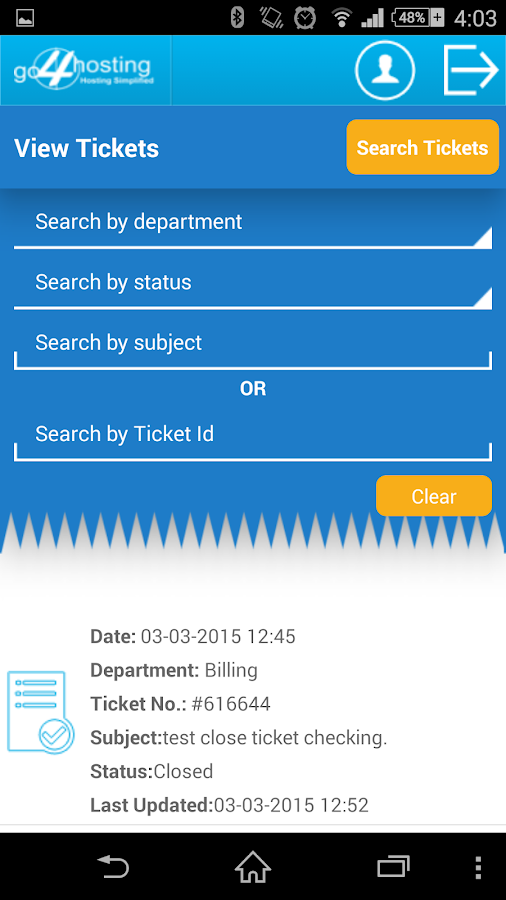 go4hosting Ticket Panel- screenshot