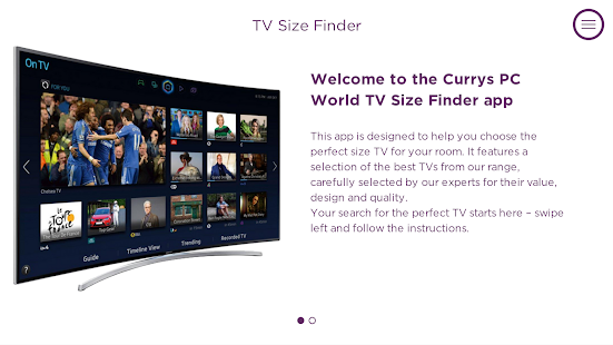 CurrysPCWorld TV Size Finder- screenshot thumbnail
