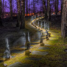 Walking Light by Johannes Mikkelsen - City,  Street & Park  Night ( walking, colorful, art, forest, woods, people, norway, halden, magic, flashlight, d800, light trails, night, norge, nikon, light,  )