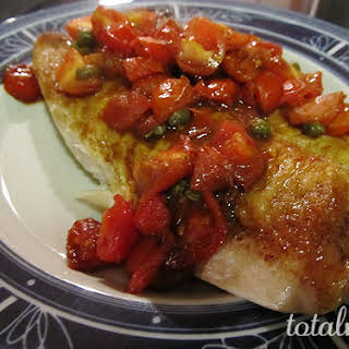 Pan-Seared Tilapia with Balsamic-Cherry Tomato Quick Sauce.