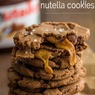 Caramel Stuffed Nutella Cookies.