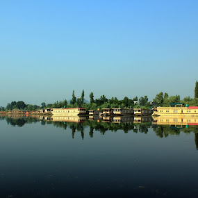 Houseboats on Dal Lake, Kashmir by Tarun Bhatnagar - Landscapes Waterscapes