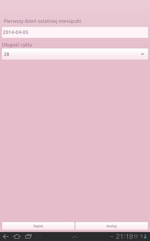 Kalendarz menstruacyjny stworzyłam na własne potrzeby kontrolowania ...