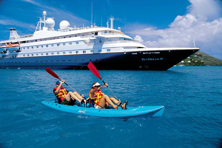 Calm seas make for a perfect kayak outing during a SeaDream II voyage.