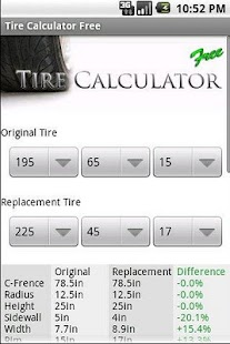 Tire Calculator FREE - screenshot thumbnail