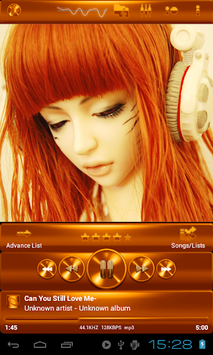 Poweramp ORANGE METAL skin