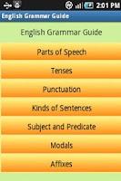 Screenshot of English Grammar Guide