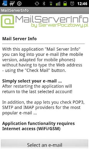 Mail Server Info e-mail info
