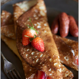 Crepes with Strawberries and Homemade Whipped Cream.
