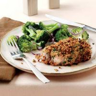 Herb-Crusted Pork Chops with Broccoli and Onions.