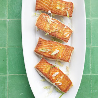 Seared Salmon with Horseradish and Scallions