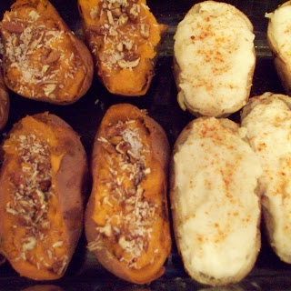 Twice Baked Spicy and Sweet Potatoes.