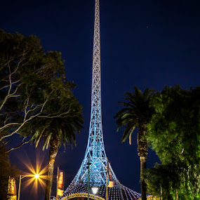 The Art Centre by Phil Hanna - City,  Street & Park  Night ( lights, tree, blue, melbourne, green, australia, night, architecture, serenity, mood, factory, charity, autism, light, awareness, lighting, bulbs, LIUB, april 2nd )