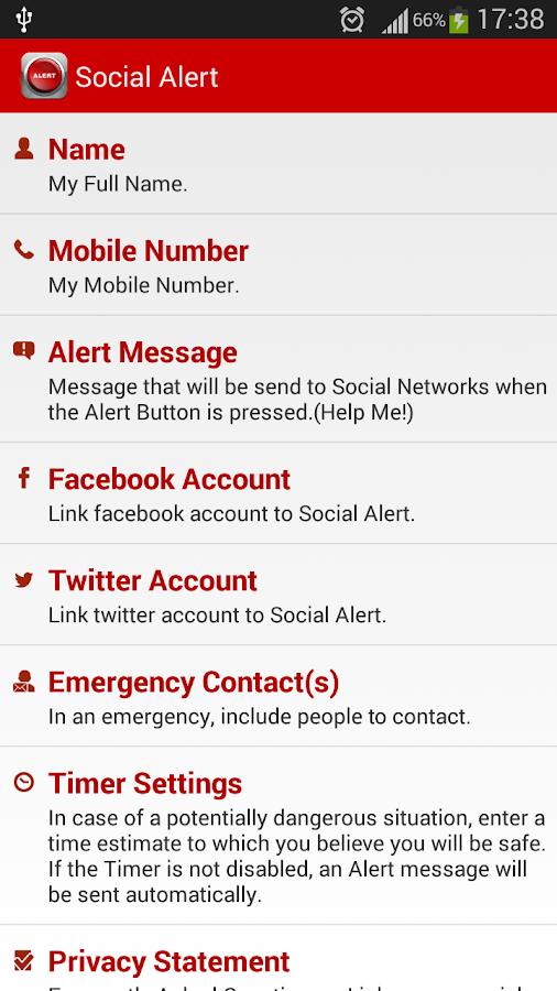 Social Alert - screenshot