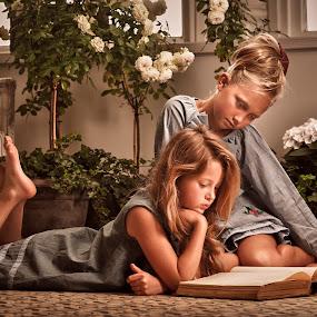 Story time by Jan Kraft - Babies & Children Child Portraits ( girls, friends, vintage, friendship, book, feet, flowers, hair, colours )