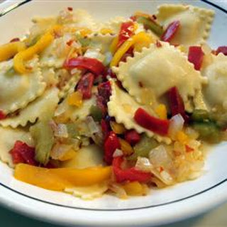 Cheese Ravioli with Three Pepper Topping