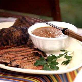 Spice-Rubbed Flank Steak with Spicy Peach-Bourbon Sauce Recipe