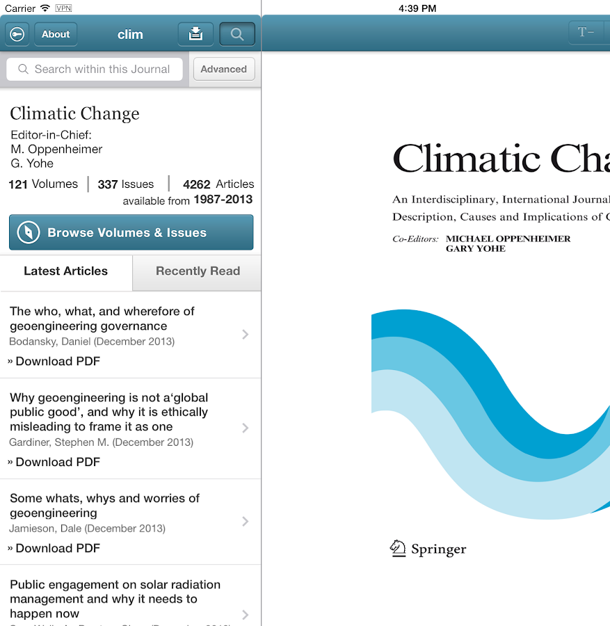 Climatic Change- screenshot