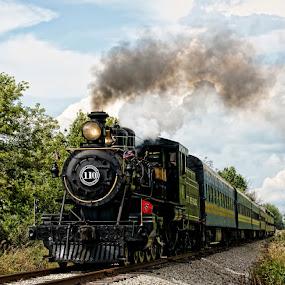The 110 Steam Engine by Luanne Bullard Everden - Transportation Trains ( clouds, steam engines, tracks, transportation, smoke, trains,  )
