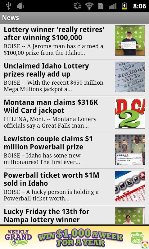 Idaho lottery numbers fromKTVB - screenshot