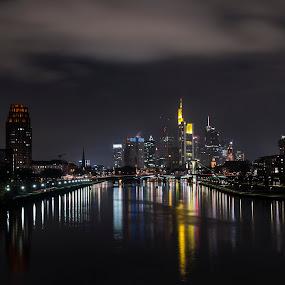 Mainhattan Frankfurt by Neil Jayaratne - City,  Street & Park  Skylines ( lights, water, clouds, frankfurt, skyline, reflection, sky, germany, night, cityscape, mainhattan, city )