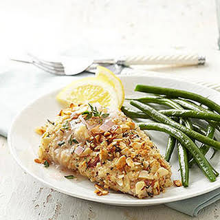 Almond-Thyme-Crusted Mahi Mahi with Lemon Chardonnay Sauce.