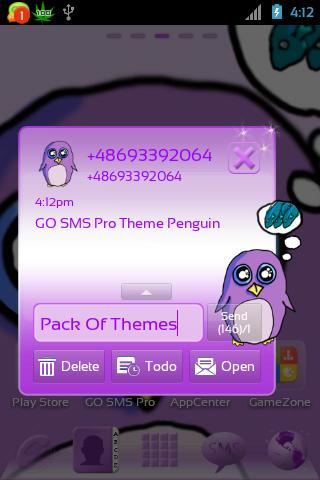 GO SMS Pro Theme Penguin - screenshot