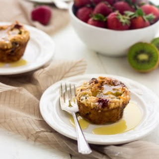 Strawberry Kiwi Bread Pudding with Coconut Rum Sauce
