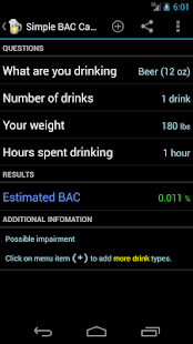 Blood Alcohol Calculator - screenshot thumbnail