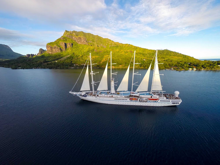 Windstar Cruises' Wind Spirit in Moorea, French Polynesia, 10 miles northwest of Tahiti.