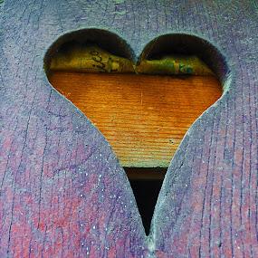 Heart by Alexandra Rafaila - Abstract Macro ( abstract, macro, old, heart, wood, vintage, texture, door, newspaper,  )