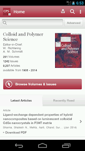 Colloid and Polymer Science - screenshot thumbnail