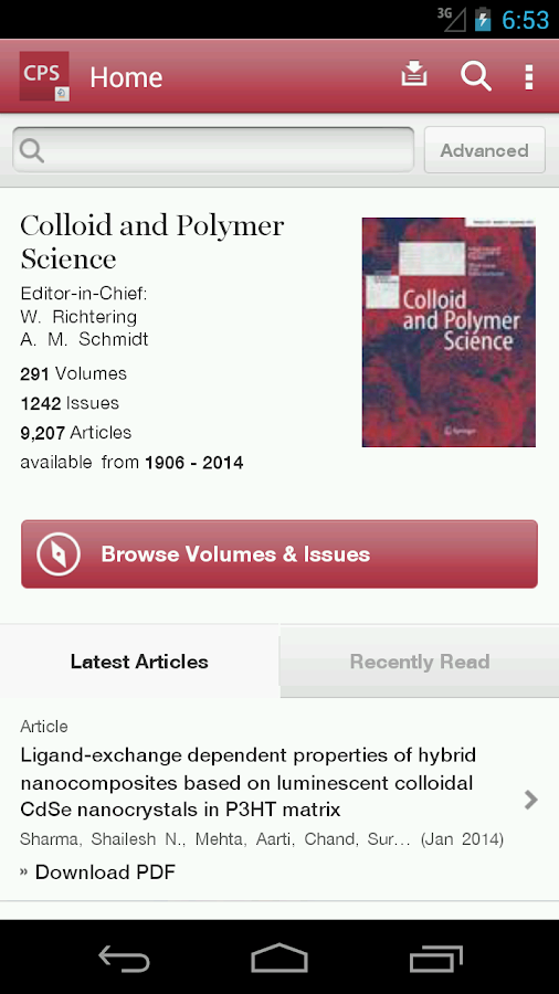 Colloid and Polymer Science - screenshot