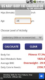 US  NAVY Body Fat Calculator - screenshot thumbnail